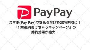 スマホ(Pay Pay)で支払うだけで20%割引に!節約効果絶大の「100億円あげちゃうキャンペーン」をご紹介